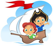 PIRATE. Little Happy Pirates, vector illustration Royalty Free Stock Photos
