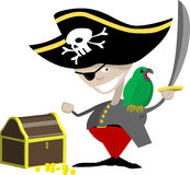 Pirate. A pirate with a parrot and chest of treasure royalty free illustration
