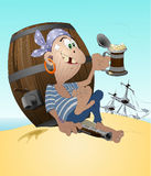 Pirate. With the mug of beer- the coloured illustration Royalty Free Stock Photos