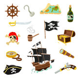 Pirate accessories flat icons set. Pirate accessories flat icons collection with wooden treasure chest and black jolly roger flag abstract vector illustration Stock Images