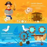 Pirate adventure banners treasure chest flask of rum seagull Royalty Free Stock Photography