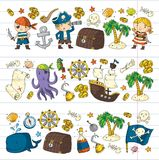 Pirate adventures Pirate party Kindergarten pirate party for children Adventure, treasure, pirates, octopus, whale, ship Royalty Free Stock Images