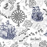Seamless background with old sailing ship, gulls, compass and treasure islands on white. Pirate adventures, treasure hunt and old transportation concept. Hand Royalty Free Stock Photos