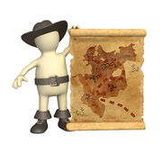Pirate with ancient map. Puppet - pirate with ancient map Stock Image