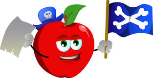 Pirate apple with blank paper and pirate flag Stock Image
