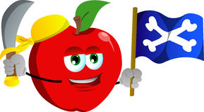 Pirate apple with sword and pirate flag Stock Image