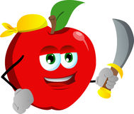 Pirate apple with sword Royalty Free Stock Images
