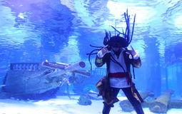 Pirate in the Aquarium Royalty Free Stock Photos