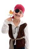 Pirate avec l'oiseau d'animal familier Images stock
