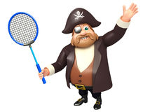 Pirate with Badminton. 3d rendered illustration of Pirate with Badminton Royalty Free Stock Image
