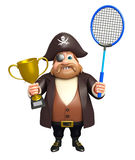 Pirate with Badminton & winning cup. 3d rendered illustration of Pirate with Badminton Royalty Free Stock Photo