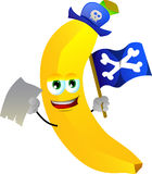 Pirate banana with blank paper and pirate flag Stock Images