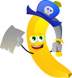 Pirate banana with blank paper and sword Royalty Free Stock Photos