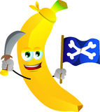 Pirate banana with sword and pirate flag Stock Images