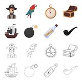 Pirate, bandit, bateau, voile Les pirates ont placé des icônes de collection dans la bande dessinée, Web d'illustration d'actions Photographie stock