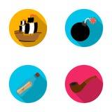 Pirate, bandit, bateau, voile Les pirates ont placé des icônes de collection en Web plat d'illustration d'actions de symbole de v Image stock