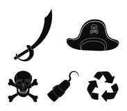 Pirate, bandit, cap, hook .Pirates set collection icons in black style vector symbol stock illustration web. Pirate, bandit, cap, hook .Pirates set collection Royalty Free Stock Photography