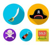 Pirate, bandit, cap, hook .Pirates set collection icons in flat style vector symbol stock illustration web. Pirate, bandit, cap, hook .Pirates set collection Stock Photography