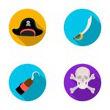 Pirate, bandit, cap, hook .Pirates set collection icons in flat style vector symbol stock illustration web. Stock Photo