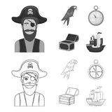Pirate, bandit, chapeau, bandage Les pirates ont placé des icônes de collection dans le contour, illustration monochrome d'action Photos libres de droits