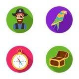 Pirate, bandit, chapeau, bandage Les pirates ont placé des icônes de collection en Web plat d'illustration d'actions de symbole d Photo libre de droits