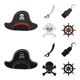 Pirate, bandit, chapeau, crochet Les pirates ont placé des icônes de collection dans la bande dessinée, Web noir d'illustration d Photos libres de droits