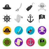 Pirate, bandit, gouvernail de direction, drapeau Les pirates ont placé des icônes de collection en Web monochrome et plat d'illus Images stock