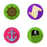 Pirate, bandit, gouvernail de direction, drapeau Les pirates ont placé des icônes de collection en Web plat d'illustration d'acti Photos stock