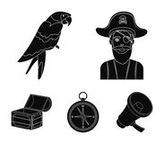 Pirate, bandit, hat, bandage .Pirates set collection icons in black style vector symbol stock illustration web. Pirate, bandit, hat, bandage .Pirates set Stock Photos