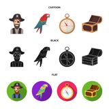 Pirate, bandit, hat, bandage .Pirates set collection icons in cartoon,black,flat style vector symbol stock illustration.  Royalty Free Stock Photography
