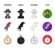 Pirate, bandit, hat, bandage .Pirates set collection icons in cartoon,black,outline,flat style vector symbol stock. Illustration Stock Photos