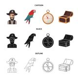 Pirate, bandit, hat, bandage .Pirates set collection icons in cartoon,black,outline style vector symbol stock. Illustration Stock Images