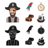 Pirate, bandit, hat, bandage .Pirates set collection icons in cartoon,black style vector symbol stock illustration web. Pirate, bandit, hat, bandage .Pirates Stock Photography