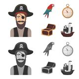Pirate, bandit, hat, bandage .Pirates set collection icons in cartoon,monochrome style vector symbol stock illustration stock photography