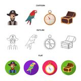 Pirate, bandit, hat, bandage .Pirates set collection icons in cartoon,outline,flat style vector symbol stock. Illustration Stock Photography