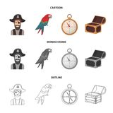 Pirate, bandit, hat, bandage .Pirates set collection icons in cartoon,outline,monochrome style vector symbol stock. Illustration Stock Photo