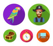 Pirate, bandit, hat, bandage .Pirates set collection icons in flat style vector symbol stock illustration web. Pirate, bandit, hat, bandage .Pirates set Stock Photography