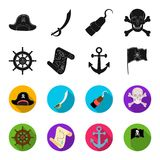 Pirate, bandit, rudder, flag .Pirates set collection icons in black,flet style vector symbol stock illustration web. Pirate, bandit, rudder, flag .Pirates set Royalty Free Stock Photography