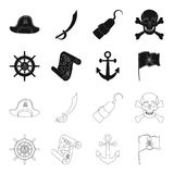 Pirate, bandit, rudder, flag .Pirates set collection icons in black,outline style vector symbol stock illustration web. Pirate, bandit, rudder, flag .Pirates Royalty Free Stock Images