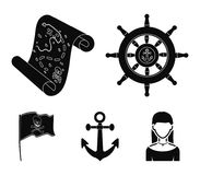 Pirate, bandit, rudder, flag .Pirates set collection icons in black style vector symbol stock illustration web. Pirate, bandit, rudder, flag .Pirates set Royalty Free Stock Photography