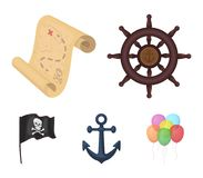 Pirate, bandit, rudder, flag .Pirates set collection icons in cartoon style vector symbol stock illustration web. Pirate, bandit, rudder, flag .Pirates set Royalty Free Stock Photos