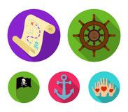 Pirate, bandit, rudder, flag .Pirates set collection icons in flat style vector symbol stock illustration web. Pirate, bandit, rudder, flag .Pirates set Stock Image