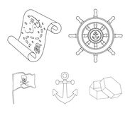 Pirate, bandit, rudder, flag .Pirates set collection icons in outline style vector symbol stock illustration web. Pirate, bandit, rudder, flag .Pirates set Stock Images