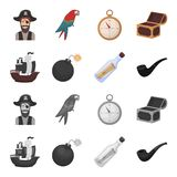 Pirate, bandit, ship, sail .Pirates set collection icons in cartoon,monochrome style vector symbol stock illustration.  Stock Photos