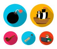 Pirate, bandit, ship, sail .Pirates set collection icons in flat style vector symbol stock illustration web. Pirate, bandit, ship, sail .Pirates set collection Stock Photography