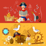 Pirate banner sea adventures treasure island. Vector illustration Royalty Free Stock Images