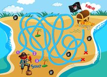 Pirate beach maze puzzle game vector illustration