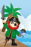 Pirate on the beach Vector for your design Royalty Free Stock Photo