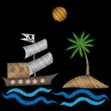 Pirate big ship with palm tree embroidery stitches imitation Royalty Free Stock Image