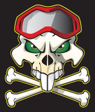 Pirate Biker. Skull pirate style with biker glasses on black background Stock Photo